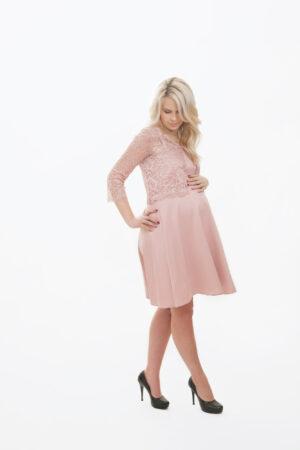 Triin- heleroosa õlapaeltega pidulik kleit jakiga rasedale