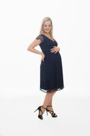 Diana- elegantselt kaunis tumesinine väikeste varrukatega ja alt laienev pitsist kleit